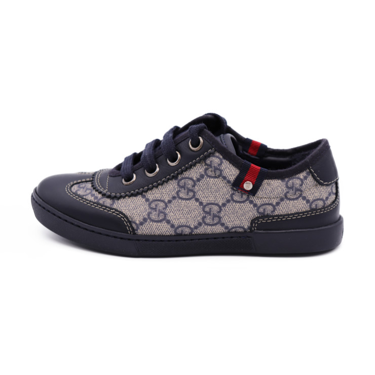 13aaeb18cbb9 New article-free display GUCCI Gucci kids shoes sneakers GG canvas leather  beige navy notation 29 reference size 17.5cm  genuine guarantee