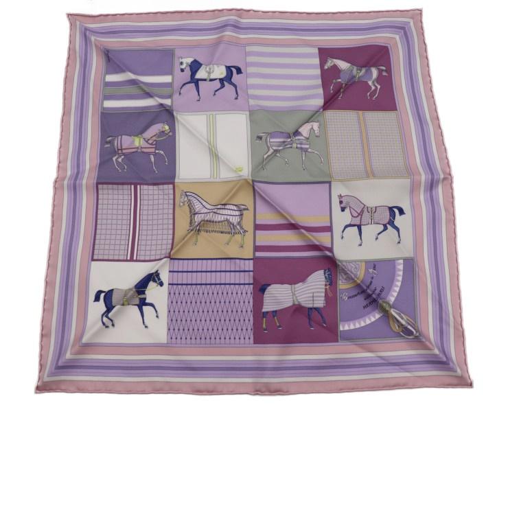 超美品 HERMES エルメス カレ45 スカーフ シルク ピンク 紫 パープル レディース 小物【本物保証】【中古】
