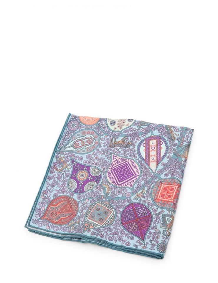 新品未使用展示品 HERMES エルメス カレ45 スカーフ シルク 水色 紫 マルチカラー【本物保証】【中古】