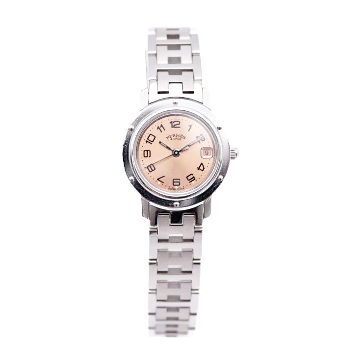 【エントリーでポイント10倍!4/9~】HERMES エルメス クリッパー 腕時計 CL4.210 レディース SS シルバー ピンク文字盤 クオーツ【本物保証】【中古】
