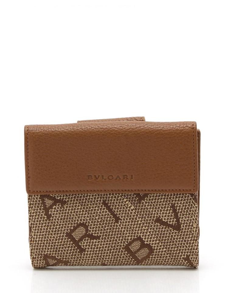 新品未使用展示品 BVLGARI ブルガリ Wホック 財布 25120 キャンバス レザー ベージュ 茶【本物保証】【中古】