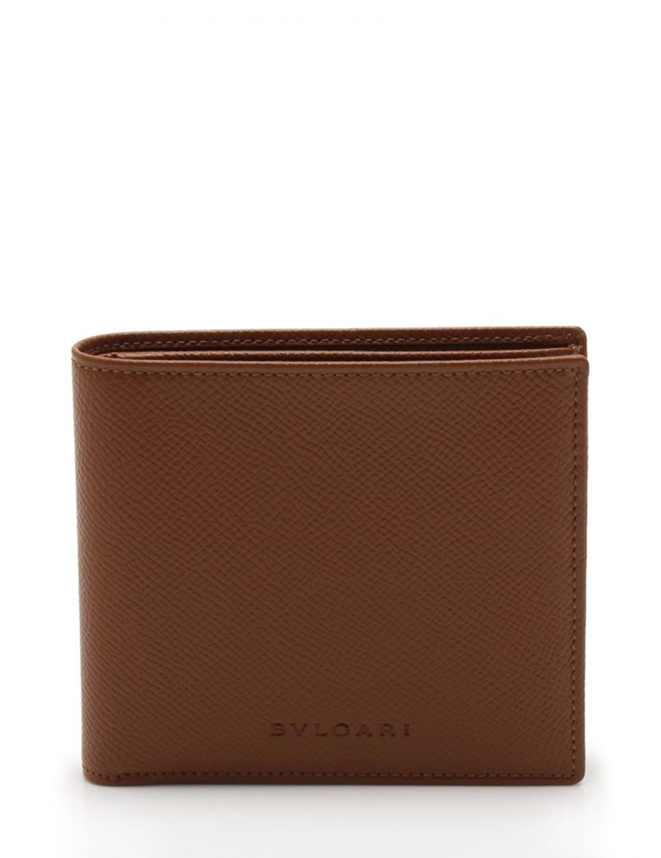新品未使用展示品 BVLGARI ブルガリ 二つ折り 財布 レザー 茶 ブラウン メンズ【本物保証】【中古】