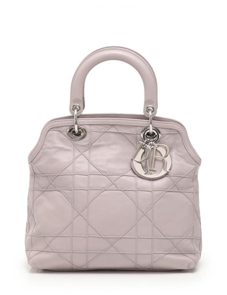 美品 Christian Dior クリスチャンディオール グランヴィル ハンドバッグ レザー グレーパープル 2WAY【本物保証】【中古】