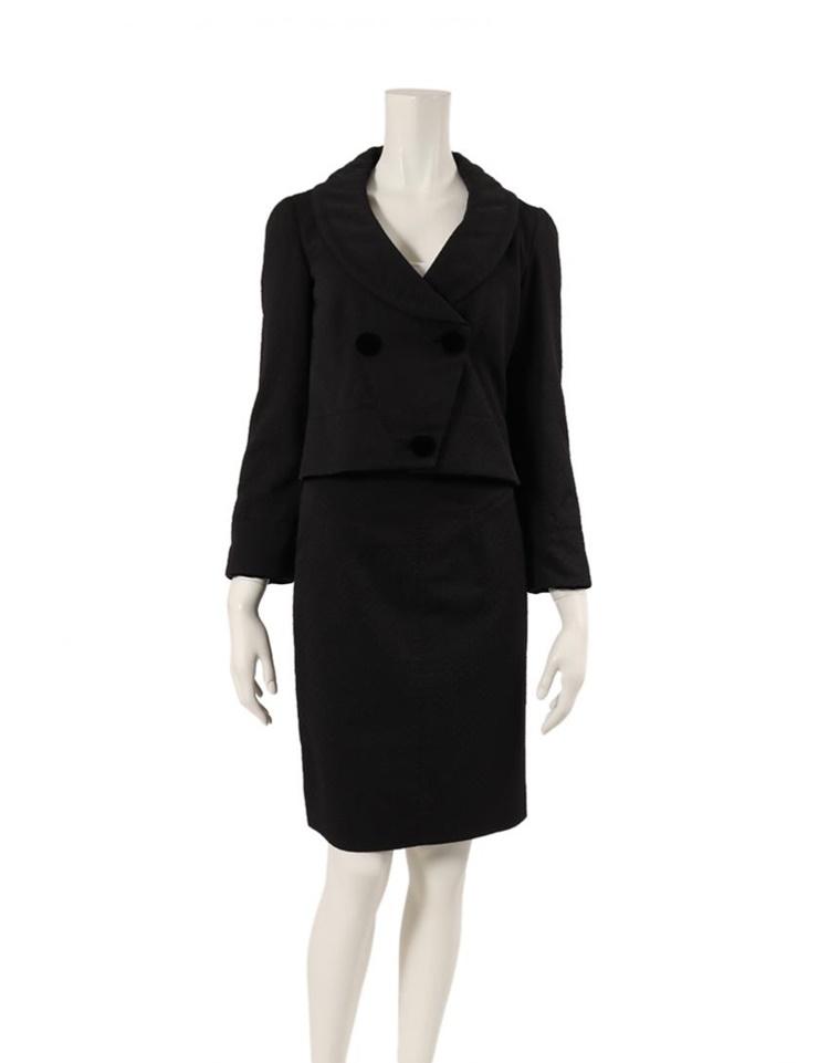 LOUIS VUITTON ルイヴィトン スカートスーツ ウール 黒 メーカーサイズ34 参考サイズXS【本物保証】【中古】
