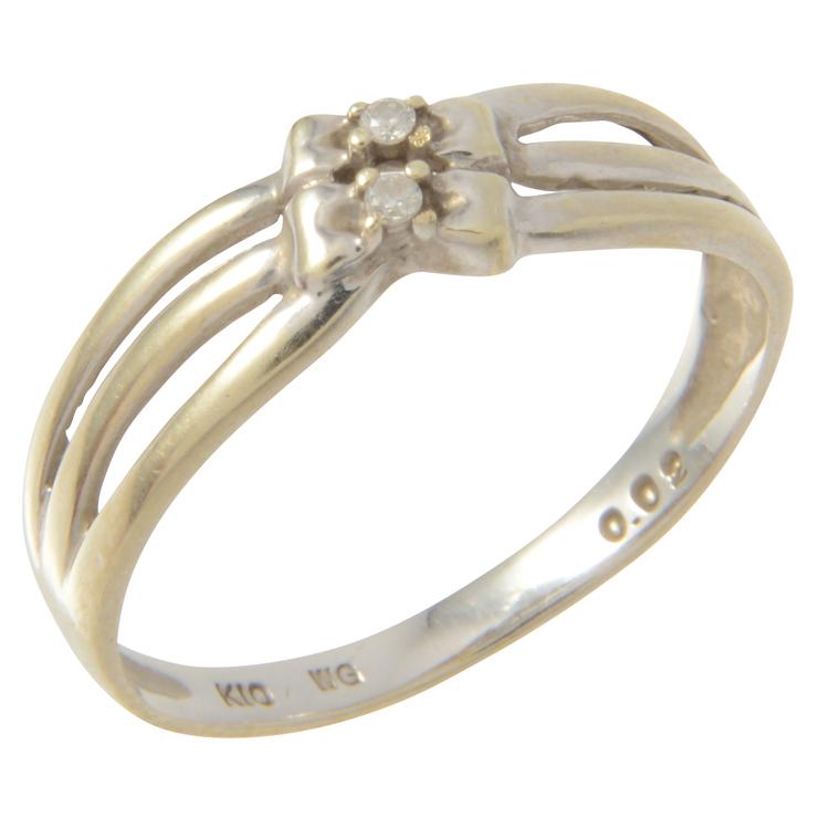 【エントリーでポイント10倍!4/9~】貴金属 リボンモチーフ ダイヤモンド リング 指輪 K10WG ホワイトゴールド 0.02ct アクセサリー 小物【本物保証】【中古】