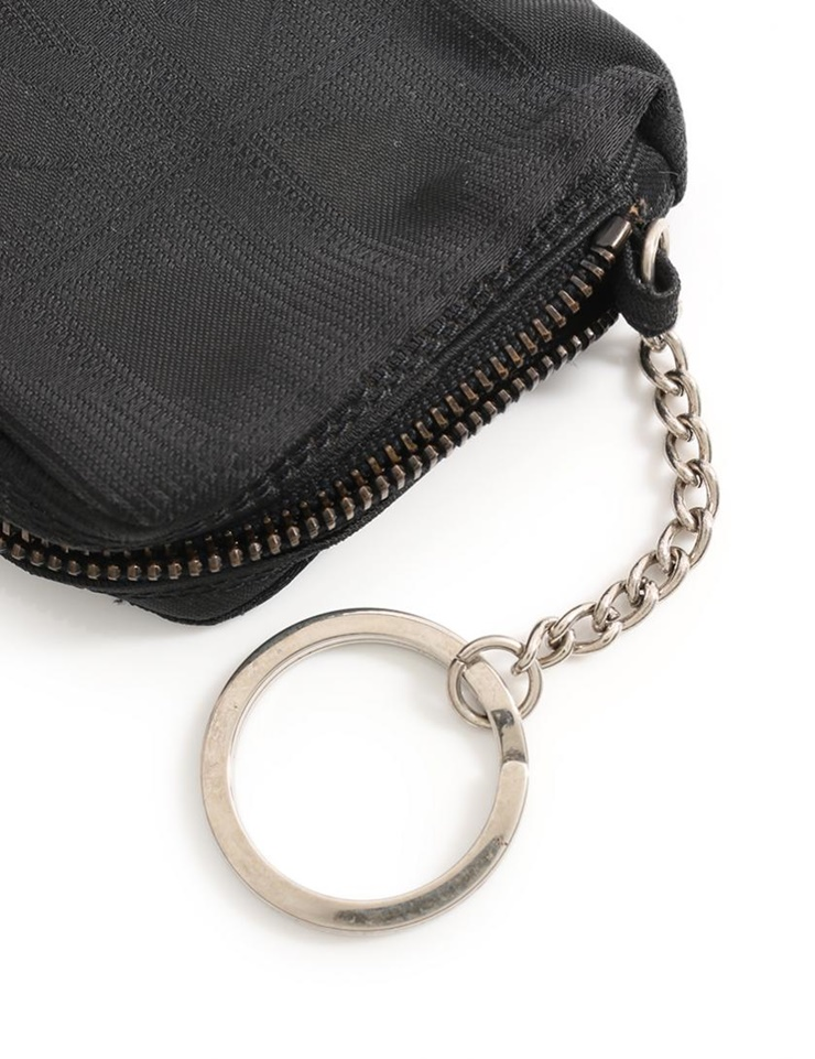 2126071e9374 Coin case coin purse nylon canvas black with the beautiful article CHANEL  Chanel current style bell line key ring