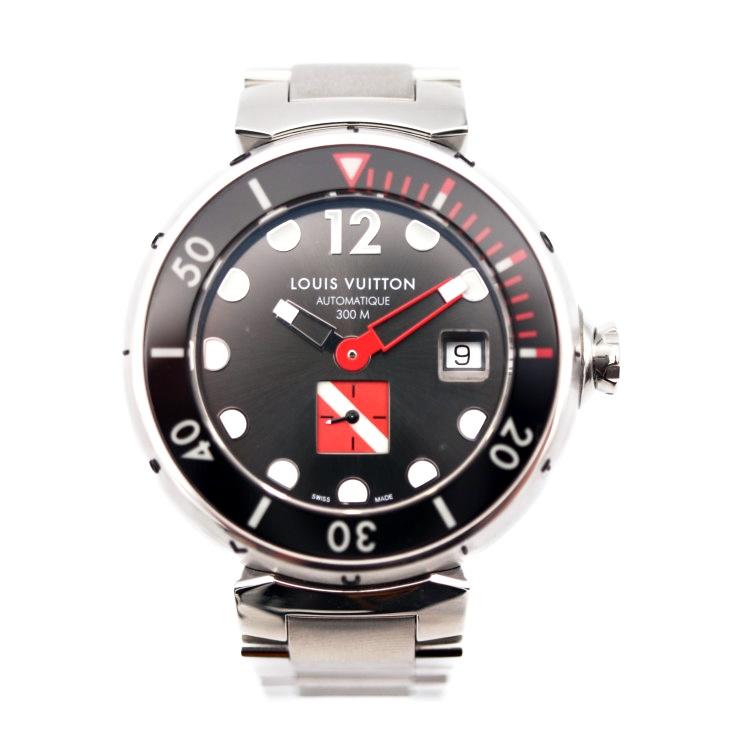 【エントリーでポイント10倍!4/9~】超美品 LOUIS VUITTON ルイヴィトン Q103A タンブール オートマティック DIVING ダイビング SS 自動巻 メンズ腕時計【本物保証】【中古】