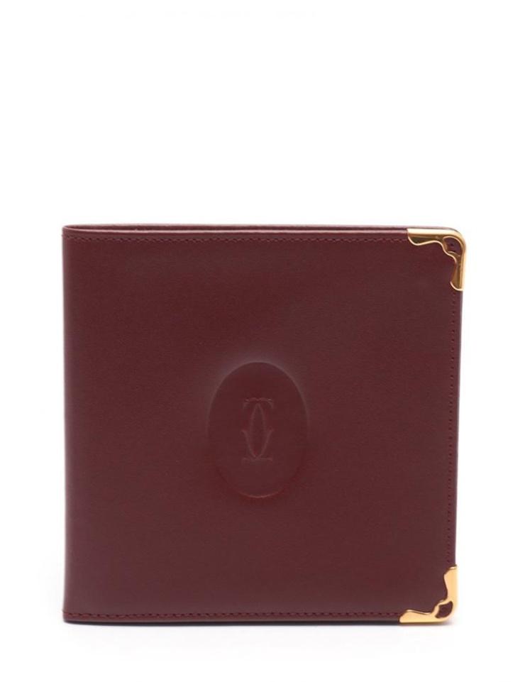 超美品 Cartier カルティエ マストライン 二つ折り札入れ レザー ボルドー【本物保証】【中古】