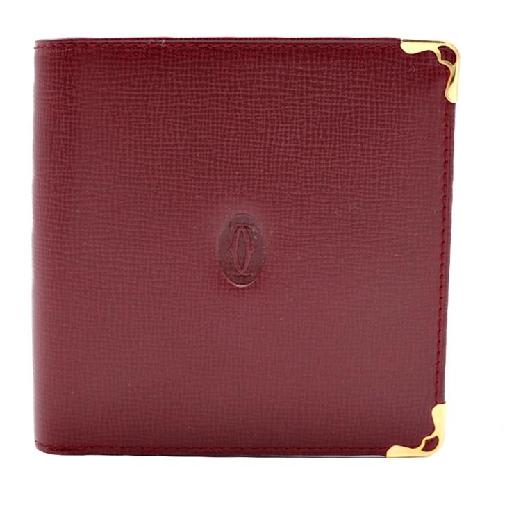 新品未使用展示品 Cartier カルティエ 二つ折り 財布 L3000165 マストライン レザー ボルドー メンズ【本物保証】【中古】