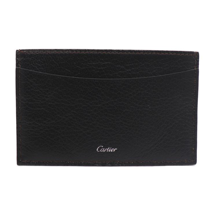 超美品 Cartier カルティエ カードケース レザー ブラック【本物保証】【中古】