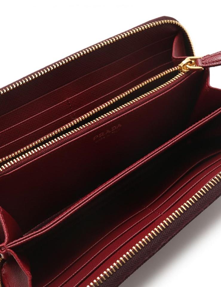 e1b664963d76 新品未使用展示品 PRADA プラダ ラウンドファスナー長財布 1ML506 サフィアーノレザー ボルドー【本物保証】【中古】-レディース財布