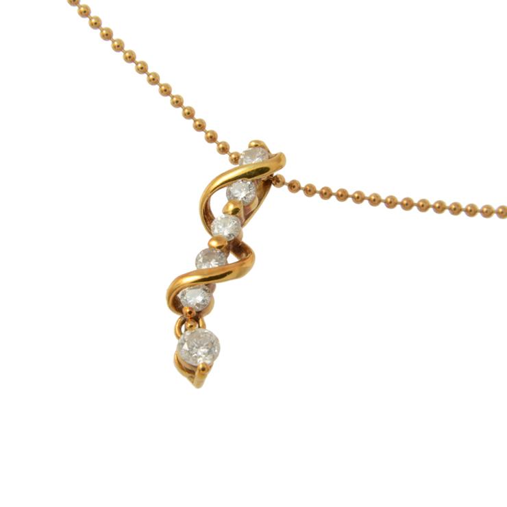 貴金属 デザインネックレス 6Pダイヤモンド D0.3ct イエローゴールド K18YG 750 アクセサリー 小物 【中古】