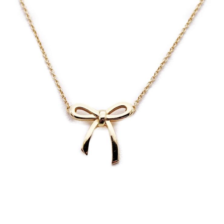 12a5824e0 Beautiful article Tiffany&Co. Tiffany ribbon motif necklace 750 K18 gold  accessories accessory [genuine guarantee]