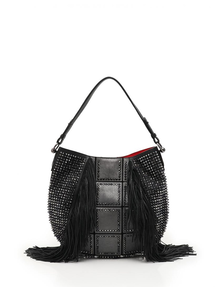 68d3b29ab80 Super beautiful article Christian Louboutin クリスチャンルブタン Lucky shoulder bag  3155112 leather black black silver gray spikes studs ...