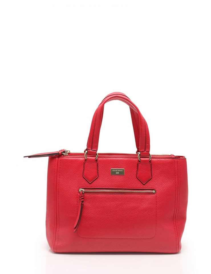 Cole Haan Large Red Leather Travel Tote carry on bag NEW