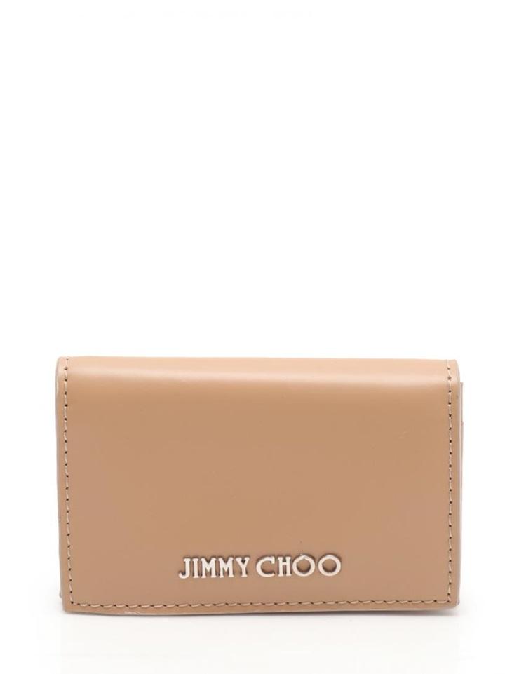 新品未使用展示品 JIMMY CHOO ジミーチュウ カードケース レザー ベージュ 男女兼用【本物保証【中古】