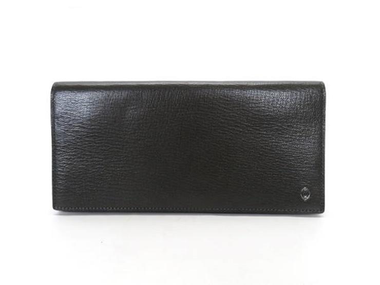 超美品 Cartier カルティエ パシャ 二つ折り 長財布 レザー カーキ×パープル【本物保証】【中古】