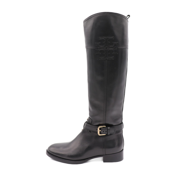 9cb338f31 Super beautiful article TORY BURCH Tolly Birch Lady's long boots leather  black notation size 7M reference size 24cm [genuine guarantee]