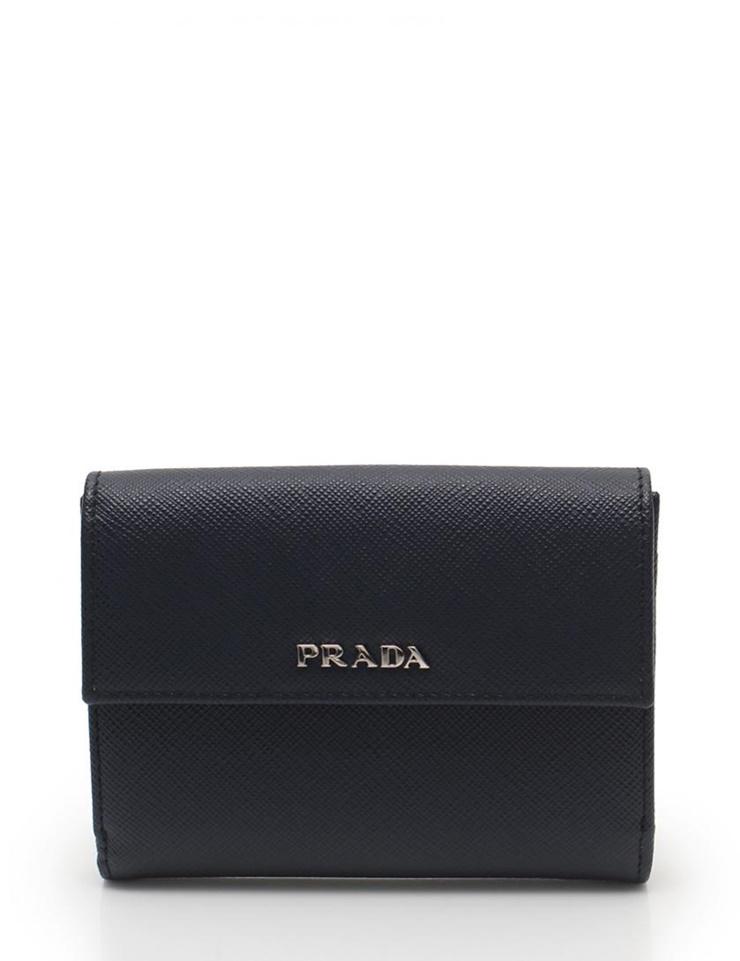 超美品 PRADA プラダ 二つ折り 財布 サフィアーノレザー 1MI002 ネイビー【本物保証】【中古】