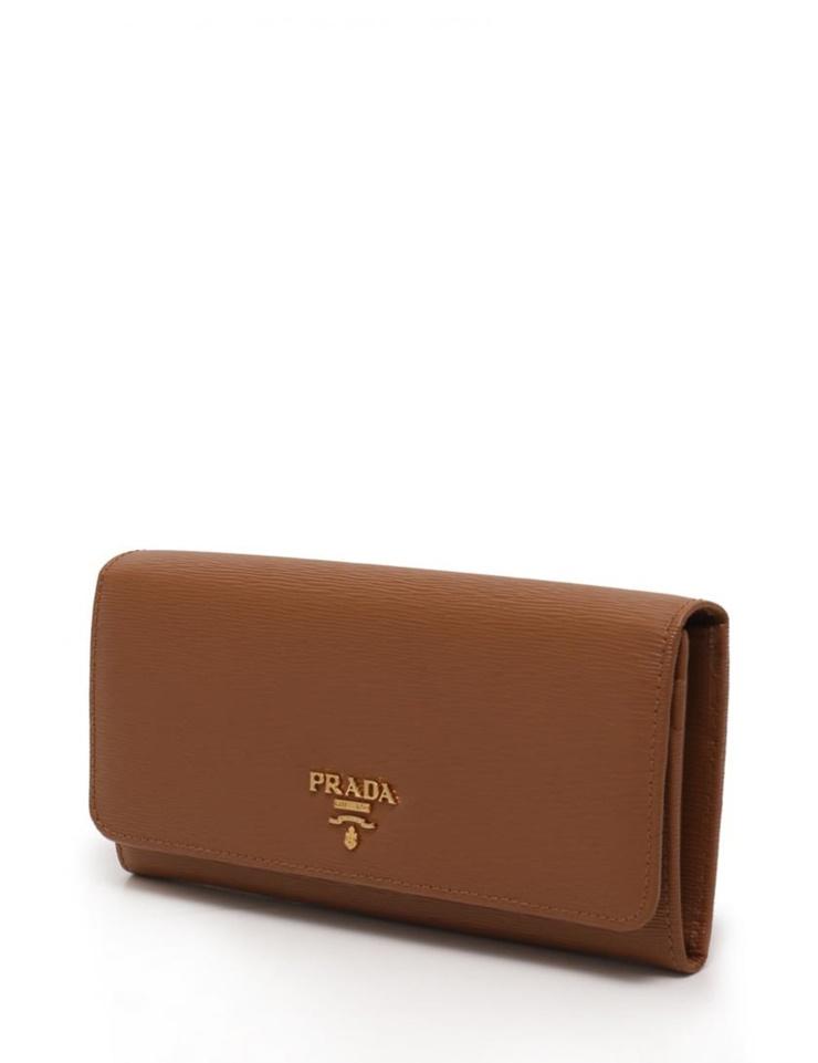 新品未使用展示品 PRADA プラダ 二つ折り長財布 1M1132 レザー 茶【本物保証】【中古】