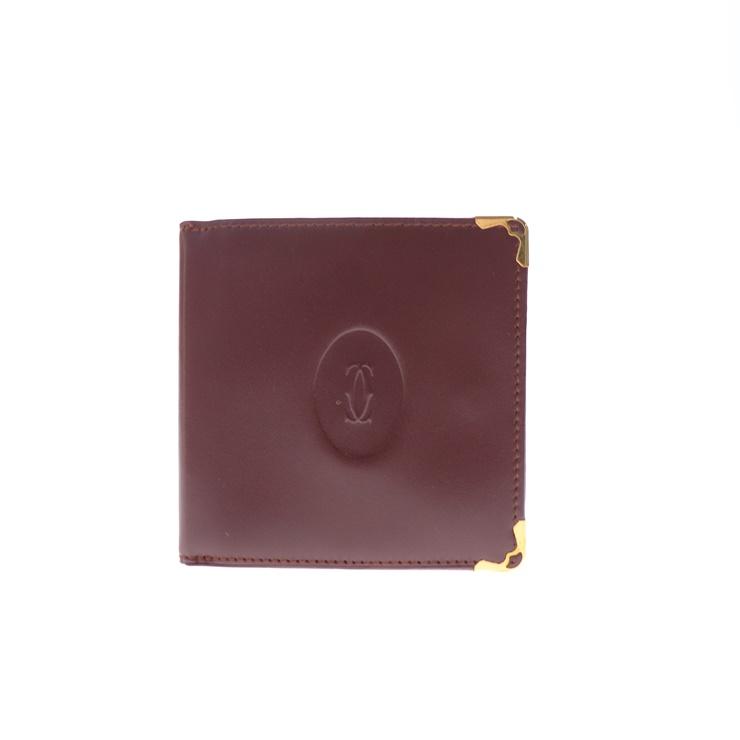 超美品 Cartier カルティエ マスト 二つ折り 財布 レザー ボルドー【本物保証】【中古】