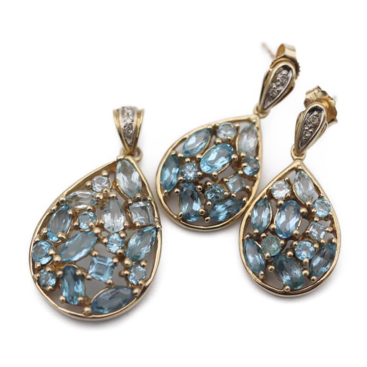 3r Boutique 14k Colored Stone Design Pendant Top Pierced Earrings