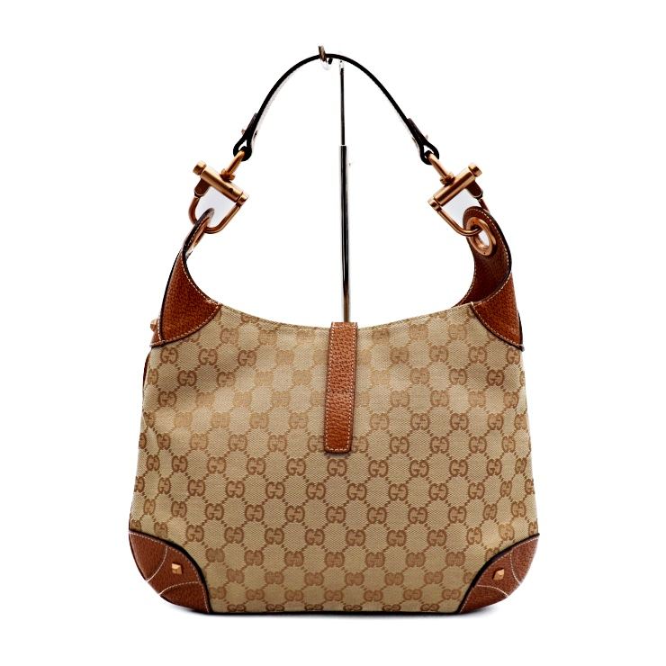569ae4018076 GUCCI Gucci new Jackie GG canvas shoulder bag 120888 canvas leather beige  brown [genuine guarantee]