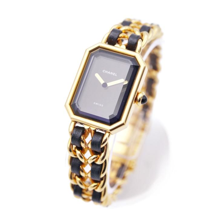 美品 CHANEL シャネル プルミエール レディース腕時計 ブラック文字盤 GP レザー L H0001【本物保証】【中古】