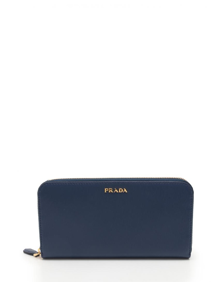e570d069cb8 New article-free display PRADA Prada VITELLO MOVE BI round fastener long  wallet 1ML506 leather navy  genuine guarantee