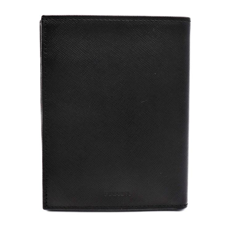 超美品 PRADA プラダ コンパクト 二つ折り札入れ レザー 黒 ブラック 小物 財布【本物保証】【中古】