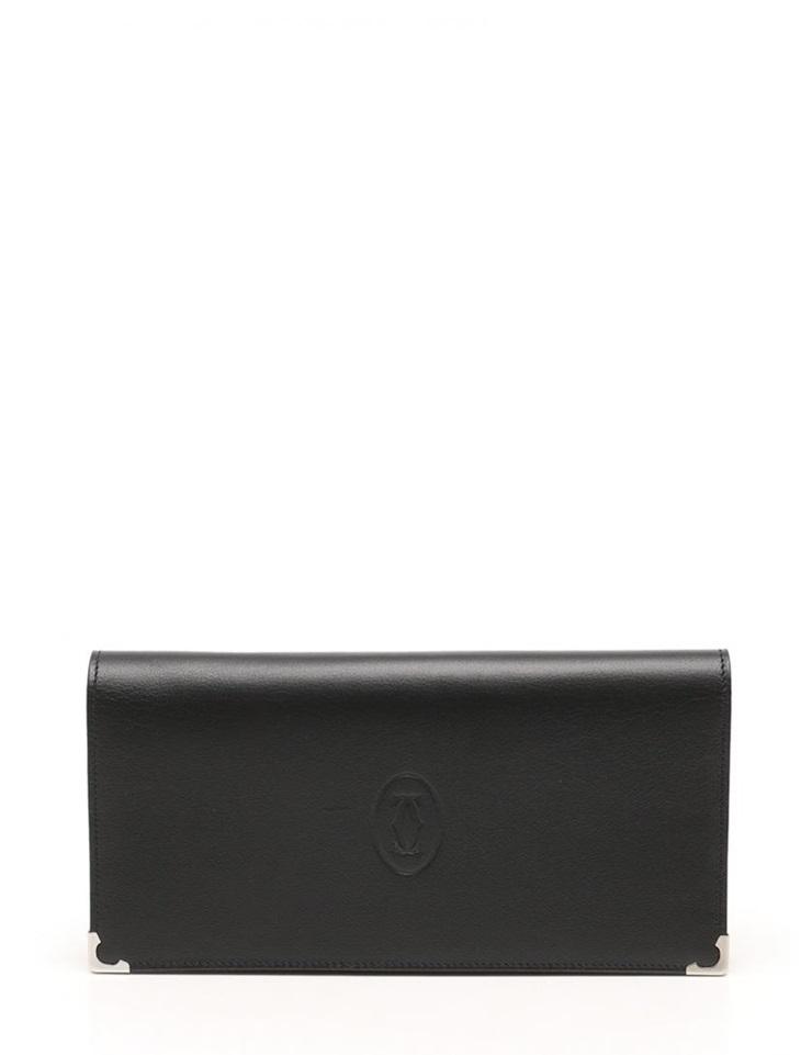超美品 Cartier カルティエ マストライン 二つ折り長財布 レザー 黒 ブラック メンズ【本物保証】【中古】