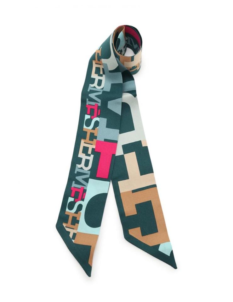 新品未使用展示品 HERMES エルメス ツイリー リボンスカーフ シルク ダークグリーン マルチカラー【本物保証】【中古】