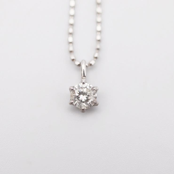 【エントリーでポイント10倍!4/9~】貴金属 ネックレス ペンダント 1PD ダイヤモンド 0.20ct K18WG ホワイトゴールド 1.4g アクセサリー 小物 【本物保証】【中古】