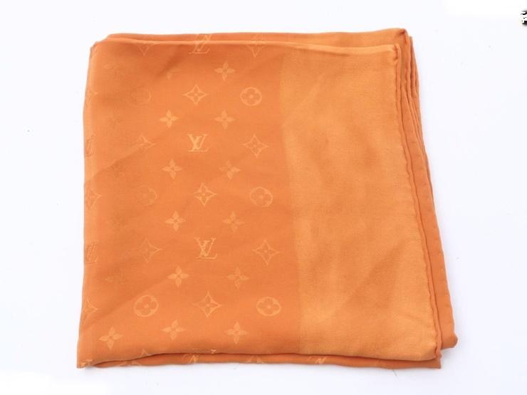 超美品 LOUIS VUITTON ルイヴィトン モノグラム柄 スカーフ シルク100% オレンジ アパレル 小物 【本物保証】【中古】