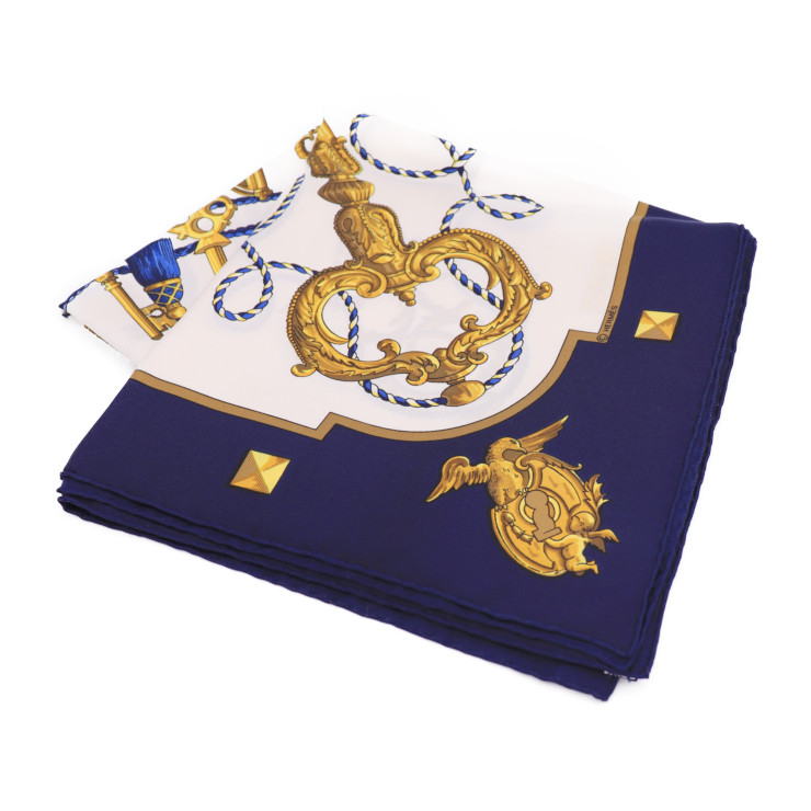 美品 HERMES エルメス カレ90 スカーフ ネイビー ホワイト ゴールド シルク【本物保証】【中古】