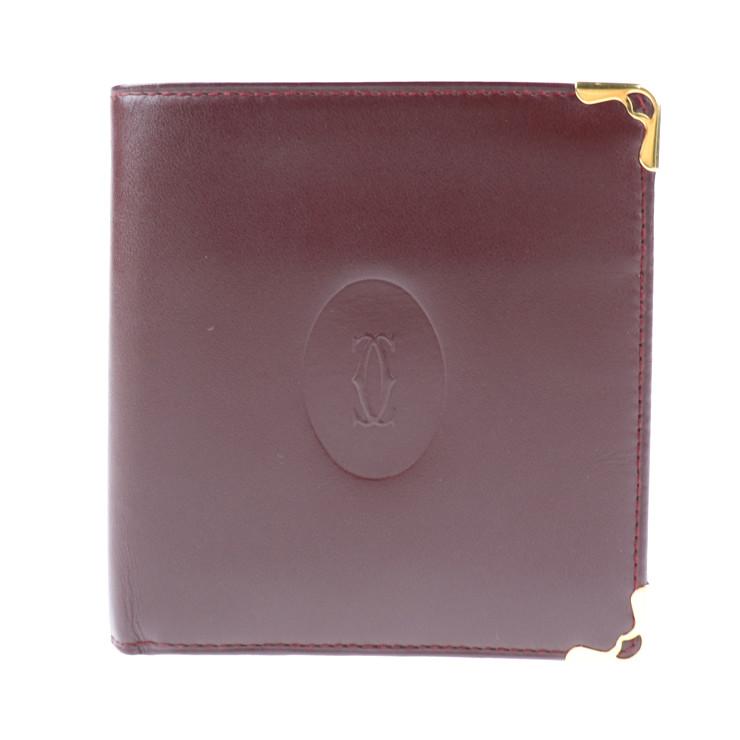 超美品 Cartier カルティエ マスト 二つ折り財布 レザー ボルドー メンズ【本物保証】【中古】