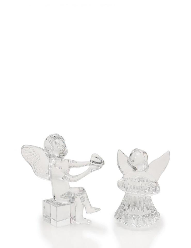 新品未使用展示品 Baccarat バカラ アンジェロ ハート リラを弾く天使 オーナメント 置物 クリスタルガラス クリア 天使 2体セット【本物保証】【中古】