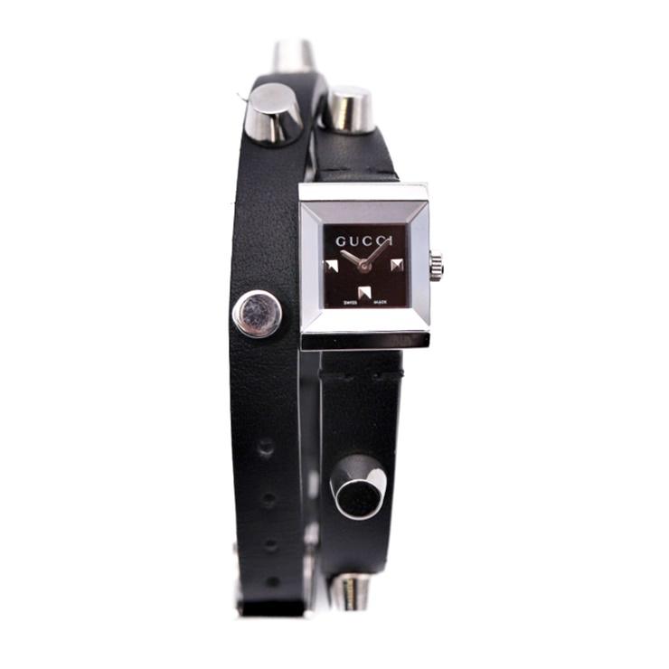 GUCCI グッチ Gフレーム レディースウォッチ 腕時計 YA128520 ロングストラップ ブラック レザー SS【本物保証】【中古】