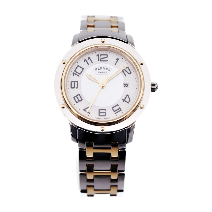 【エントリーでポイント10倍!4/9~】美品 HERMES エルメス クリッパー CP1.320 シェル SS YG クォーツ レディース腕時計【本物保証】【中古】