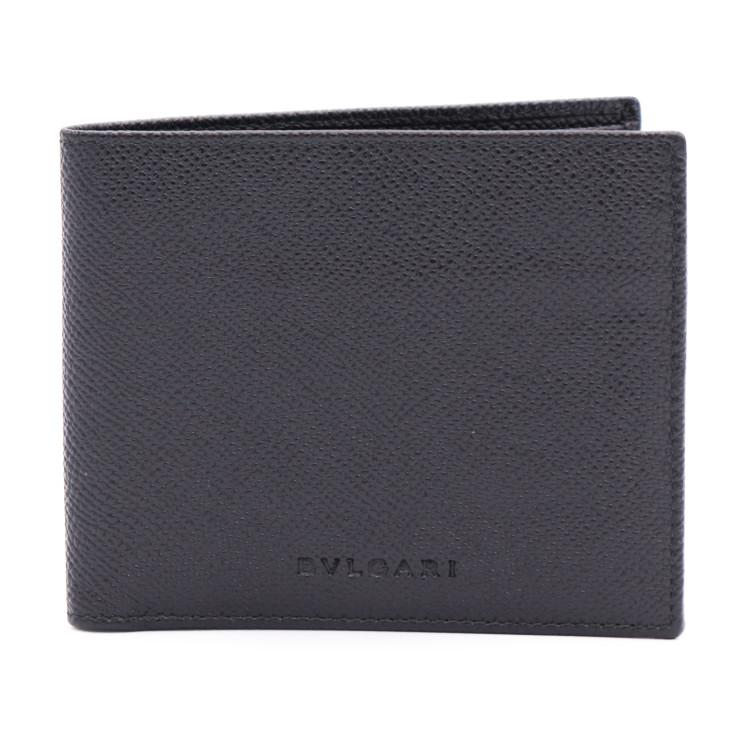 超美品 BVLGARI ブルガリ 2つ折り 財布 札入れ 20253 レザー ブラック 黒 メンズ【本物保証】【中古】