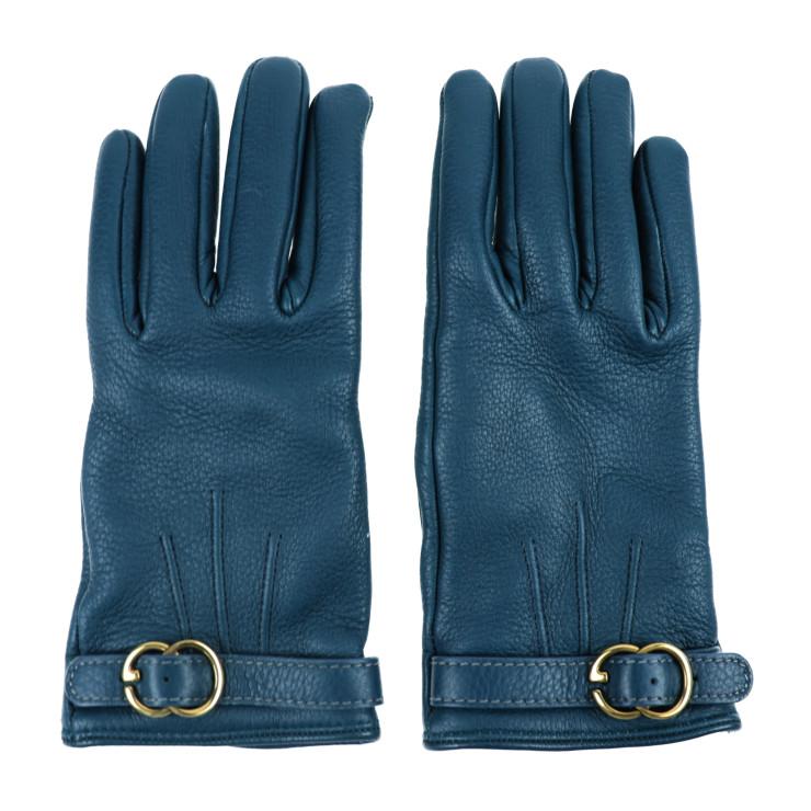 美品 GUCCI グッチ GG 手袋 グローブ 270352 レザー グリーン レディース 表記サイズ 7 1/2【本物保証】【中古】