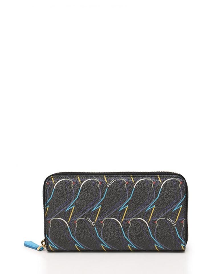 新品未使用展示品 FENDI フェンディ ラウンドファスナー長財布 8M0299 PVC ダークグレー マルチカラー 鳥モチーフ【本物保証】【中古】