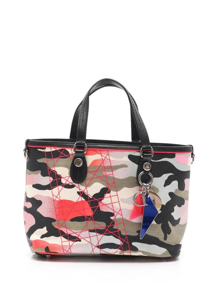 超美品 Christian Dior クリスチャンディオール アンセルムライル トートバッグ 迷彩 キャンバス レザー【本物保証】【中古】