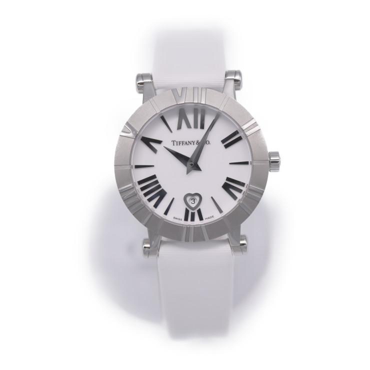 新品未使用展示品 TIFFANY & Co. ティファニー アトラス 腕時計 クォーツ SS シルバー ホワイト Z1300.11.11A20A41A レディース【本物保証】【中古】