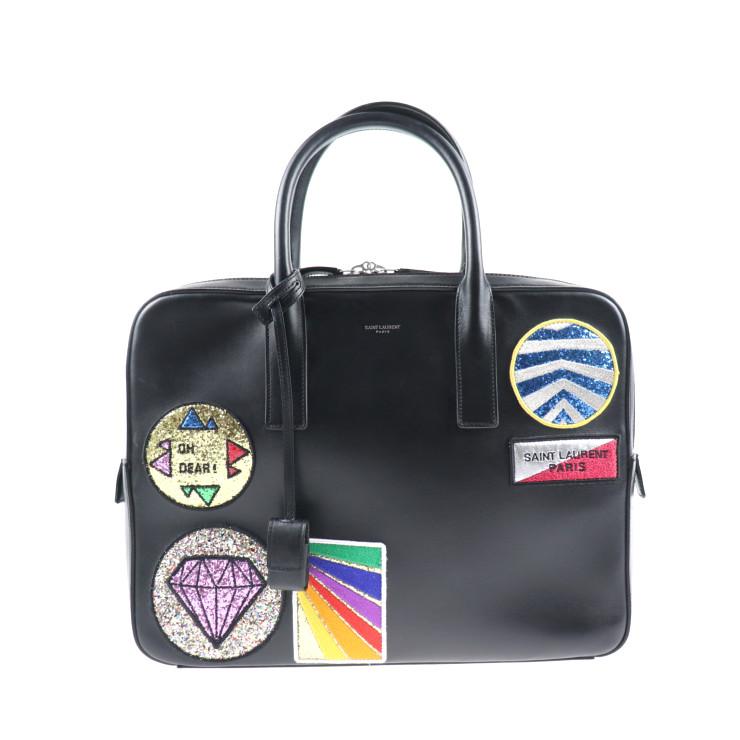 SAINT LAURENT サンローラン ブリーフケース ビジネスバッグ 書類鞄 462542 レザー ワッペン ブラック メンズ【本物保証】【中古】