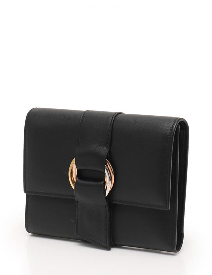 超美品 Cartier カルティエ トリニティ 三つ折り財布 L3000663 レザー ブラック【本物保証】【中古】