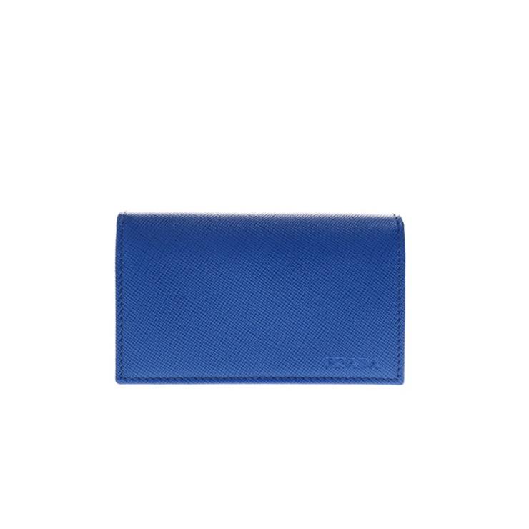 新品未使用展示品 PRADA プラダ カードケース 名刺入れ 2MC122 サフィアーノレザー ブルー【本物保証】【中古】