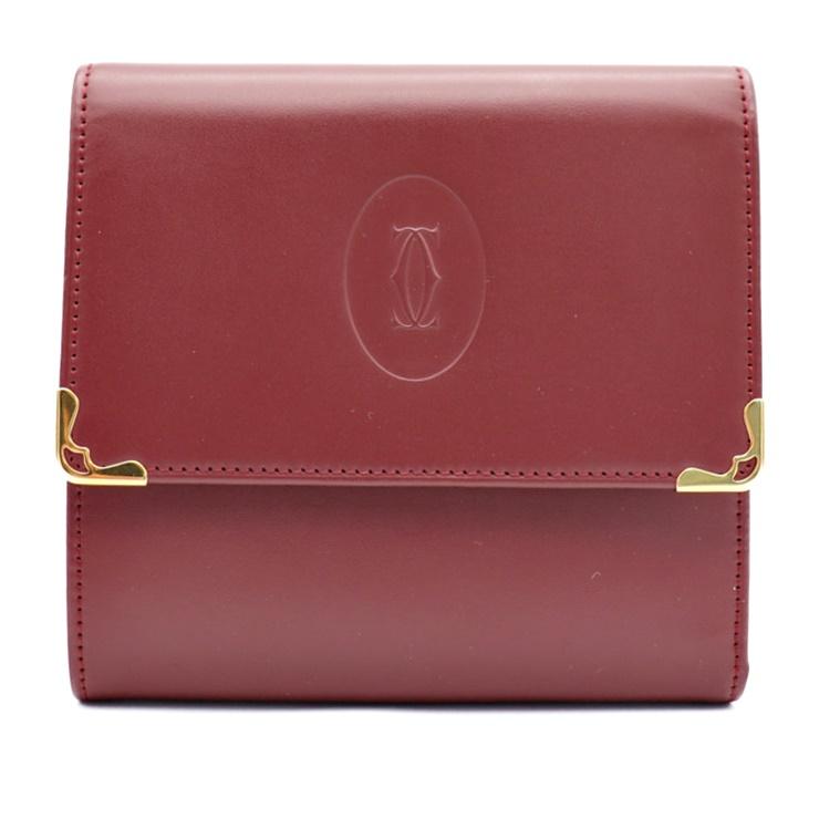 美品 Cartier カルティエ マストライン 3つ折り財布 レザー ボルドー【本物保証】【中古】