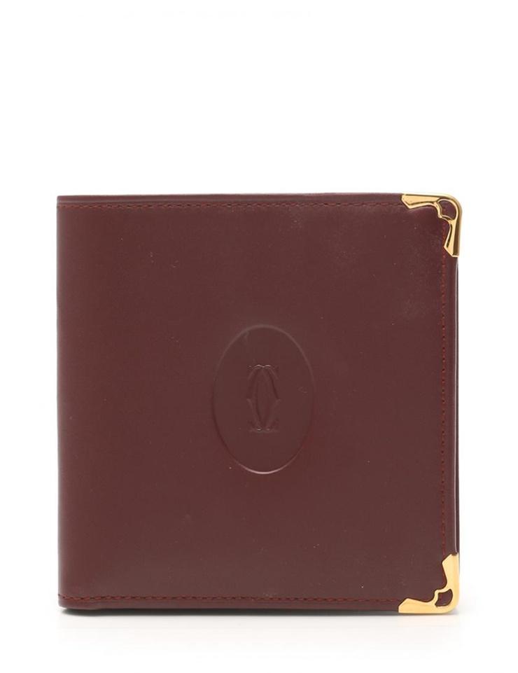 【エントリーでポイント10倍!4/9~】超美品 Cartier カルティエ マストライン 二つ折り財布 73184192 レザー ボルドー 男女兼用【本物保証】【中古】