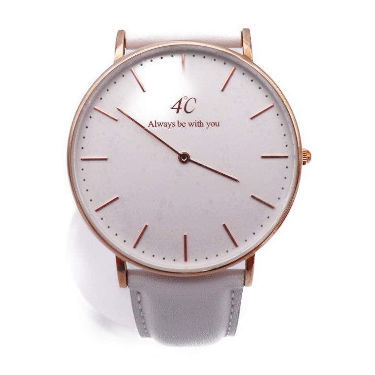 新品未使用展示品 4℃ ヨンドシー ラウンド レディース 腕時計 202516 クォーツ SS レザー ピンクゴールド 白文字盤【本物保証】【中古】